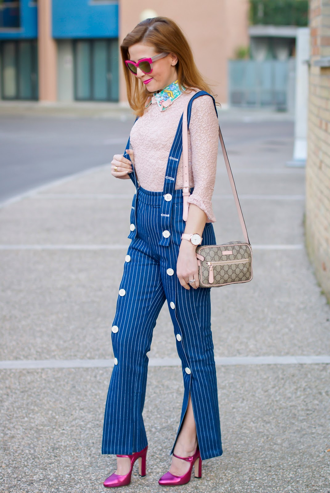 Metisu Pinstripe trousers with braces, Le Silla Mary Jane on Fashion and Cookies fashion blog, fashion blogger style