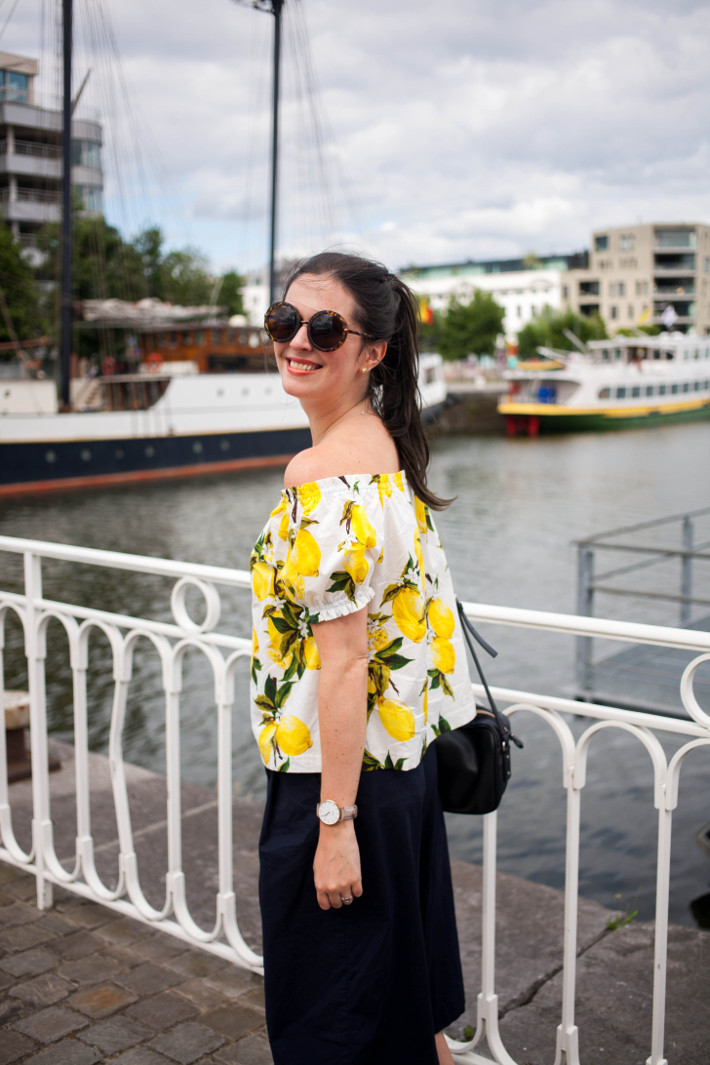 Outfit: lemon print off shoulder top, culottes