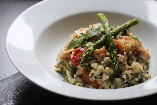 Salmon asparagus tomato risotto recipe