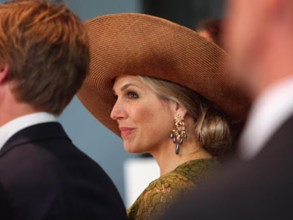 Queen Maxima of The Netherlands attended the opening of SingularityU The Netherlands, a Dutch branch of the US benefit corporation. Natan lace dress
