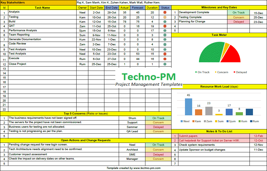 one page project manager excel template free, one page project manager template excel
