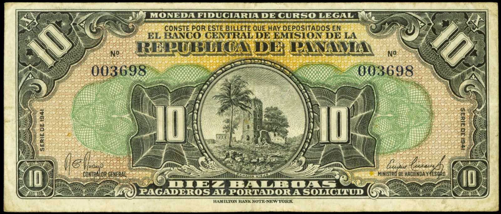 Panama banknotes paper money 10 Balboas note 1941