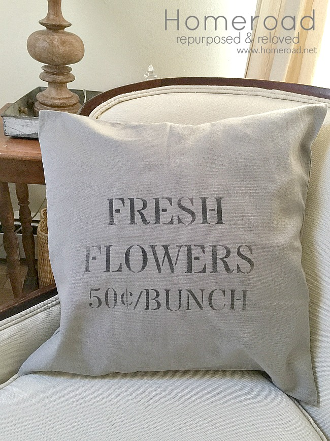 vintage sign stencil fresh flowers pillow cover