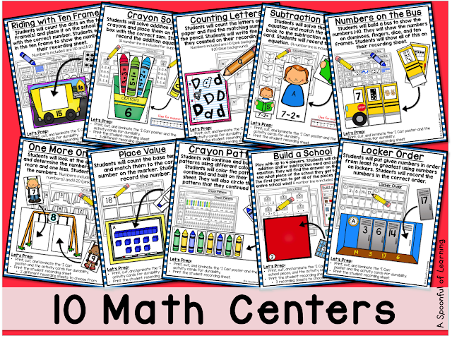 Back to School Centers - 10 Math Centers