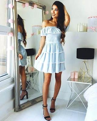 dress with flight short sky blue