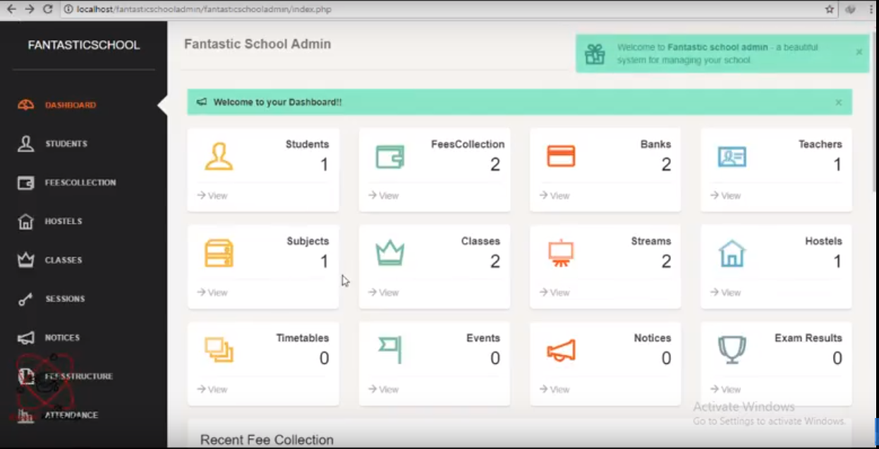 Fantastic School administration system project in PHP | Free Source
