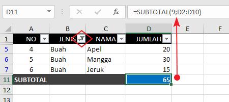 Contoh Fungsi Rumus Subtotal Terfilter