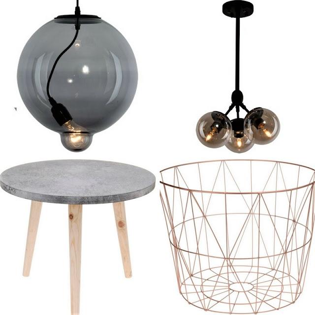 lampa w stylu industrialnym, lampa kula, lampa trzy kule, stolik z betonowym blatem