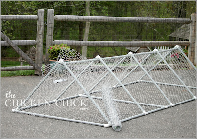 Roll out chicken wire along each side of frame and cut to fit using tin snips. Attach chicken wire to each conduit by threading wire through and around both. Bend back all sharp ends of chicken wire.