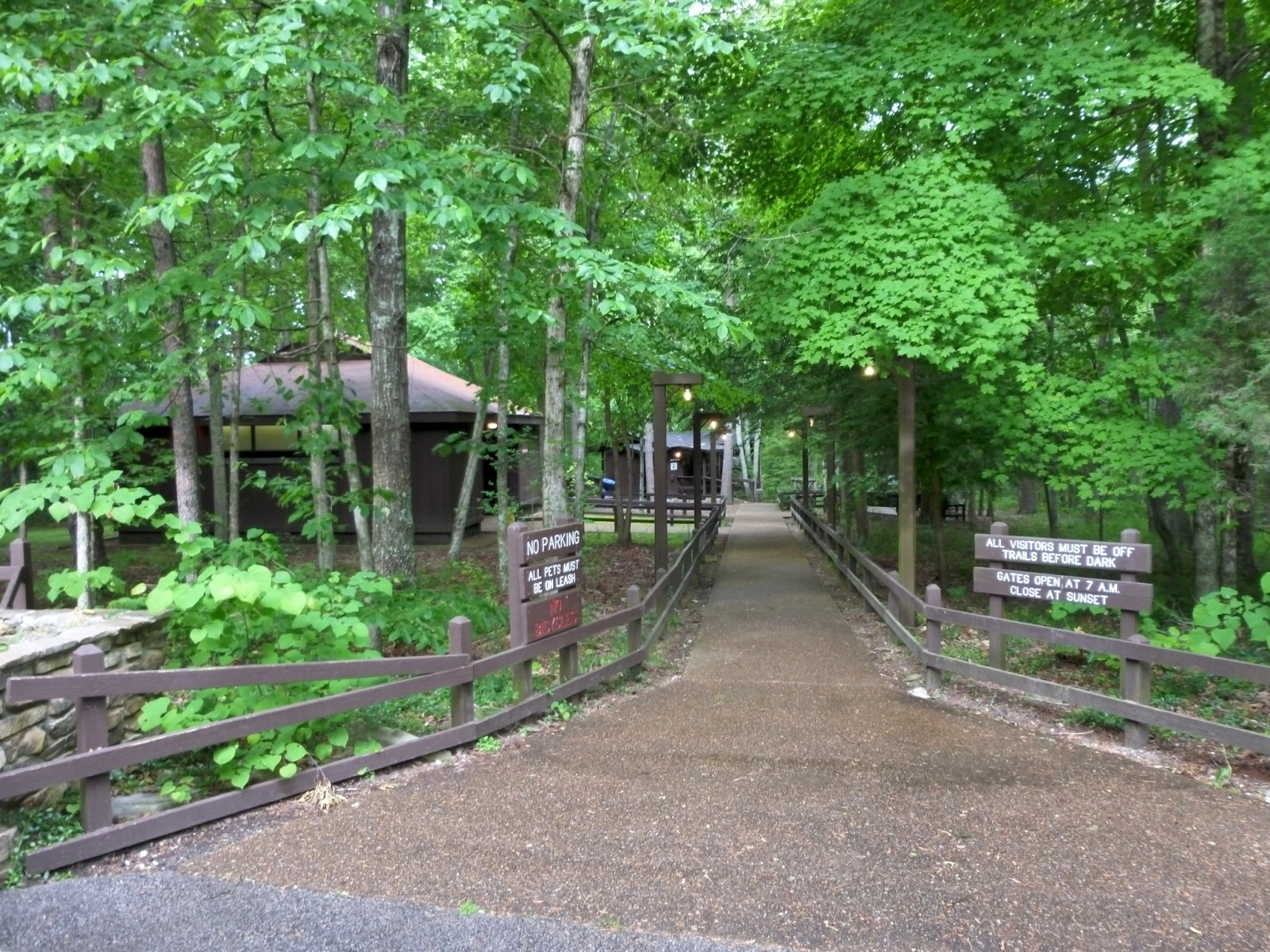 Paved trail from the parking lot to the restrooms and ranger station & American Travel Journal: Laurel Falls and Great Stone Door - Savage ...