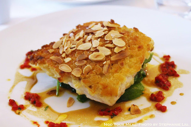 Supreme of Seabass, Crispy Almond Crust with Curried Oil and Peppers at Le Violon D'Ingres in Paris