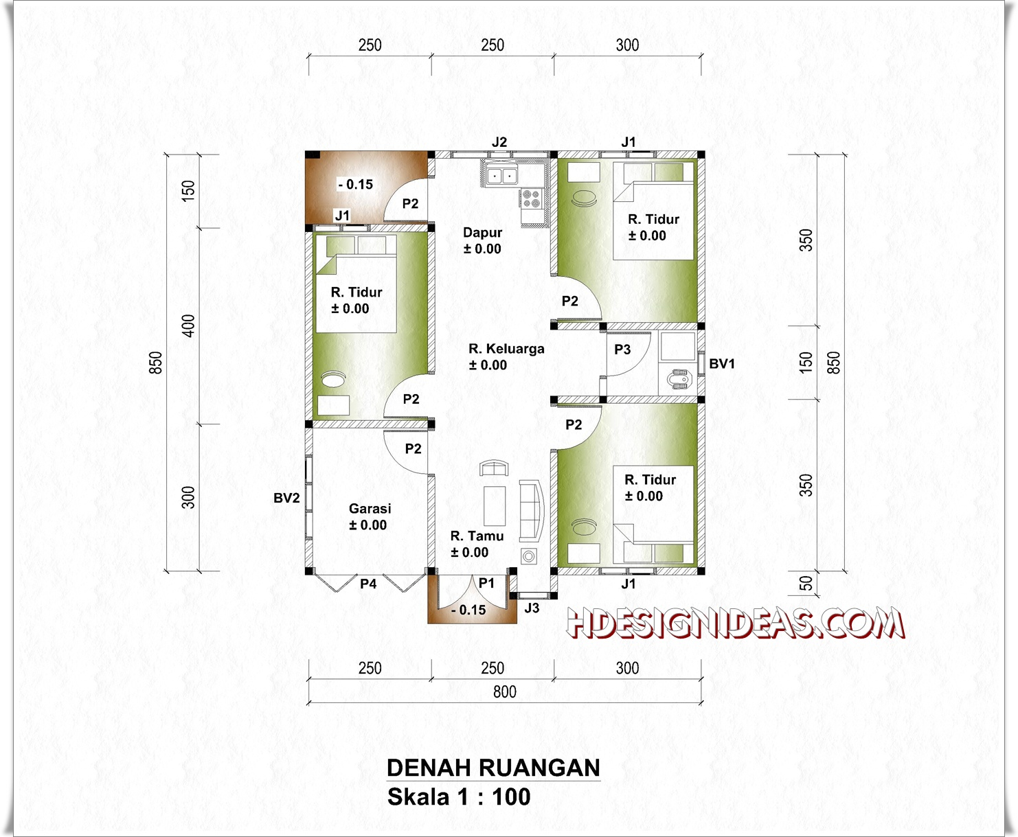 Denah Rumah Tinggal Ukuran 8 M X 85 M Home Design And Ideas