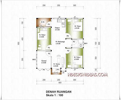 denah rumah tinggal ukuran 8 m x 8,5 m | home design and ideas