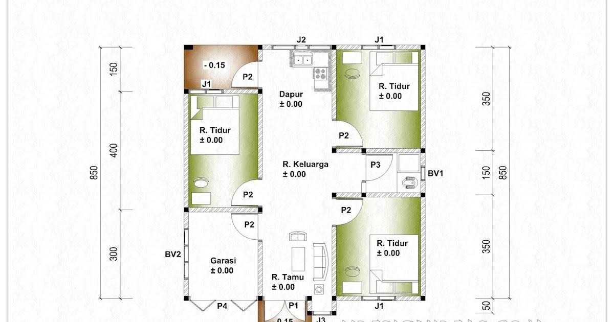 Contoh Denah Rumah Lebar 8 Meter  denah rumah tinggal ukuran 8 m x 8 5 m home design and ideas