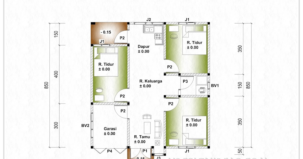 Denah Rumah Tinggal Ukuran 8 m x 85 m  Home Design and Ideas