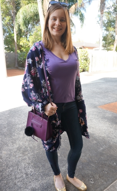 purple tee prima denim skinny jeans plum bag navy floral kimono spring OOTD | Away From Blue