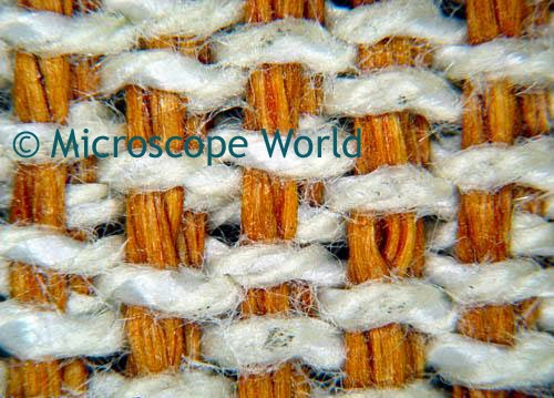 fabric under stereo microscope