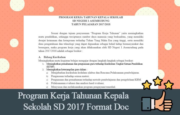 Program Kerja Tahunan Kepala Sekolah SD 2017 Format Doc