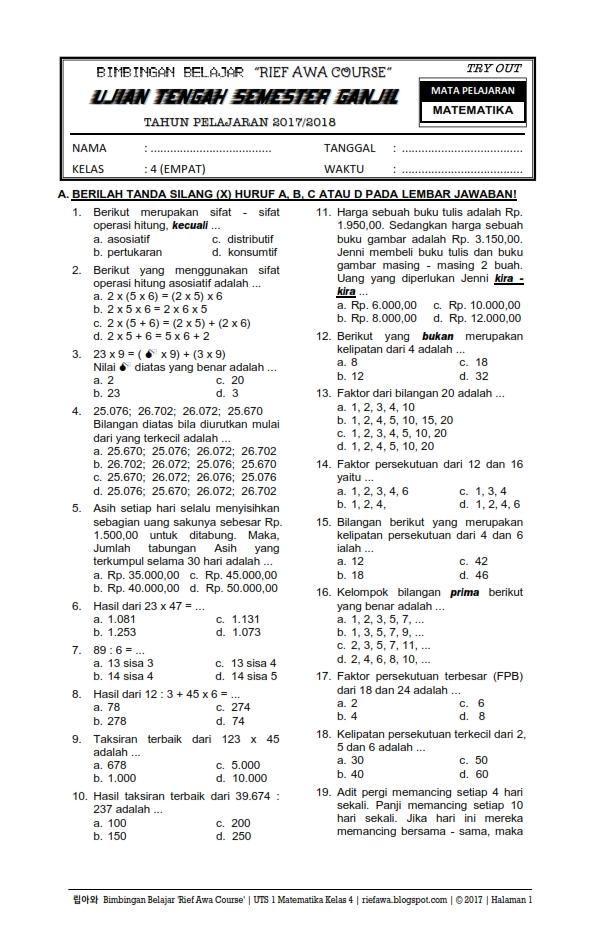 Download Soal Ujian Tengah Semester Ganjil UTS 1 Matematika Kelas 4 Tahun 2017 / 2018