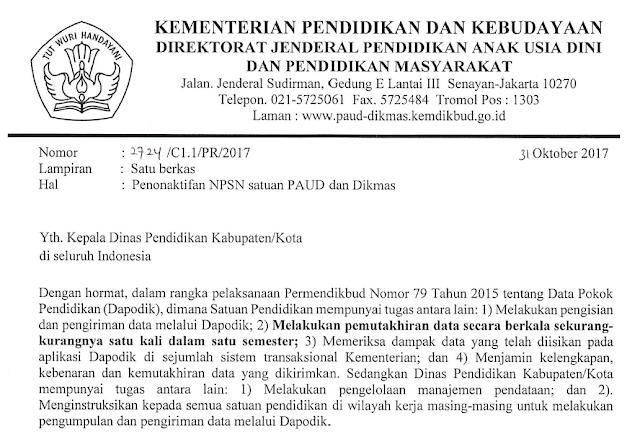 Surat Penonaktifan NPSN Satuan PAUD dan Dikmas, berdasarkan Surat Sekretaris Ditjen PAUD dan Dikmas nomor 2724/C1.1/PR/2017 tanggal 31 Oktober 2017 tentang penonaktifan NPSN satuan PAUD dan Dikmas.