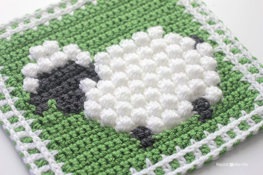 714f9a1169a Crochet Bobble Stitch Sheep Square - Repeat Crafter Me