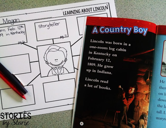 Graphic organizers are a great way to record information learned from books about Presidents' Day.