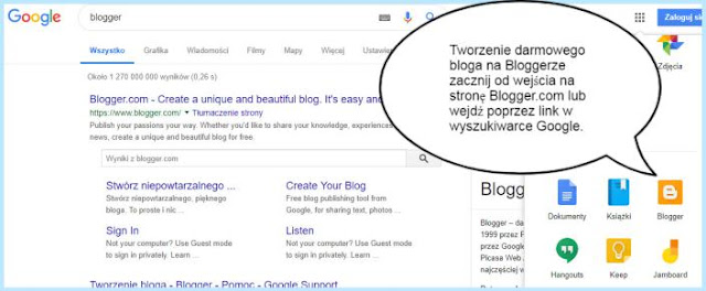 Tworzenie konta na Bloggerze.