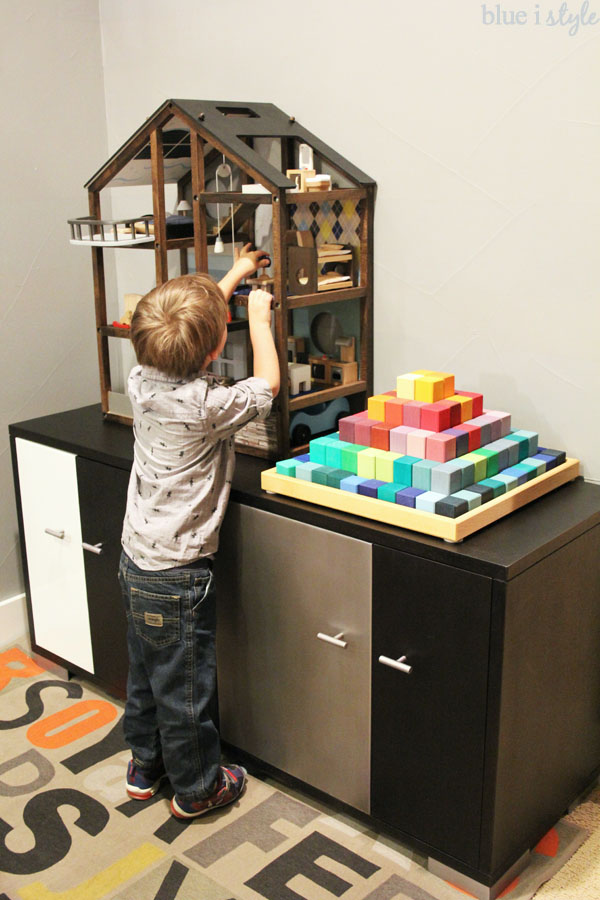 Use sideboard for toy storage