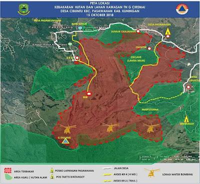 Peta bencana kebakaran hutan dan lahan di Gunung Ciremai. Foto : BPBD Kab. Kuningan.