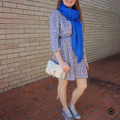 awayfromblue instagram boho print spring dress with cosy louis vuitton shawl silver bag glitter shoes