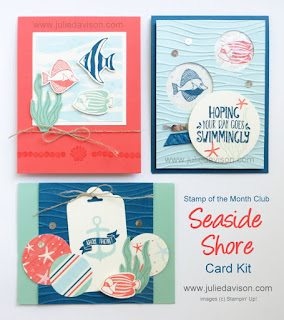 Stampin' Up! Seaside Shore Stamp of the Month Club Card Kit  #stampinup www.juliedavison.com/clubs