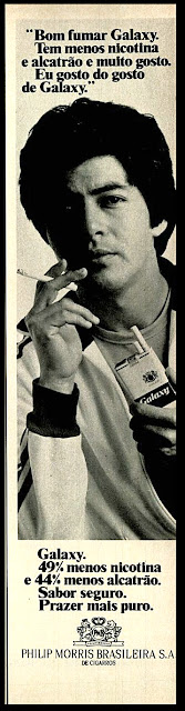 Cigarros Galaxy anos 70;  propaganda anos 70; história decada de 70; reclame anos 70; propaganda cigarros anos 70. Brazil in the 70s; Oswaldo Hernandez;