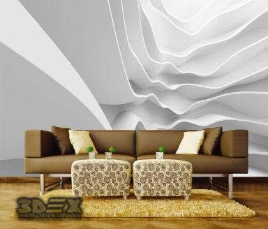 3D effect wallpaper designs for living room walls