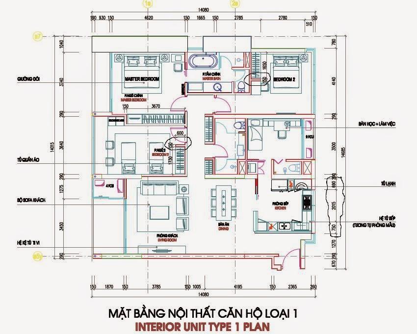 Bản vẽ thiết kế căn hộ CH1 - 182m2 Chung cư Dolphin Plaza