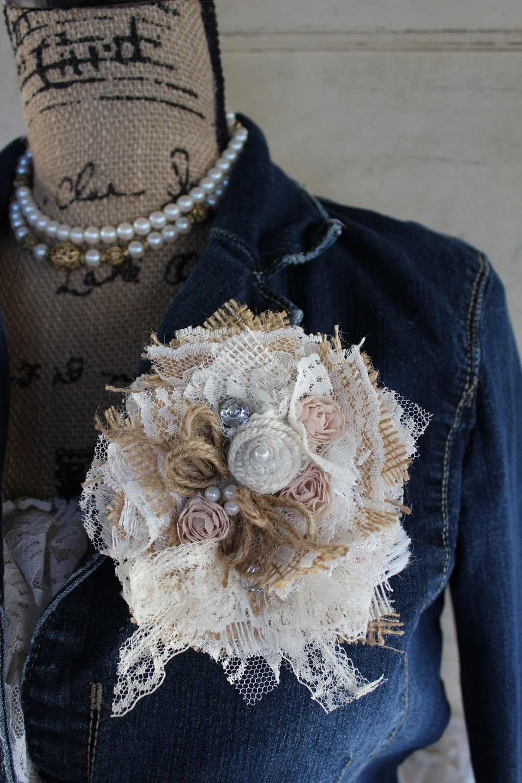 Gypsyfarmgirl New Burlap And Lace Corsages Boot Cuff