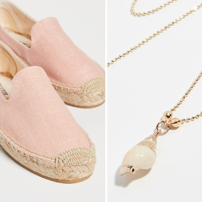 pink espadrilles, seashell necklace