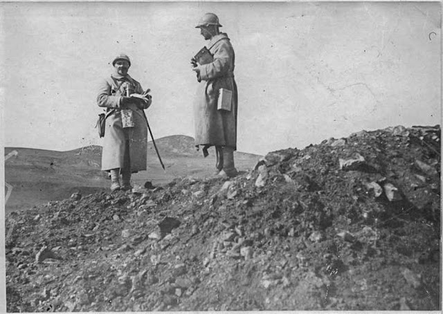The attack on the Hill 1248 near Bitola (Monastir) (16-26 March 1917). First front lines near Bitola:   Commander Collat on the newly conquered lines