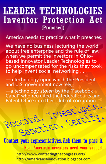 Leader Technologies Inventor Protection Act - Go to the Contacting Congress website