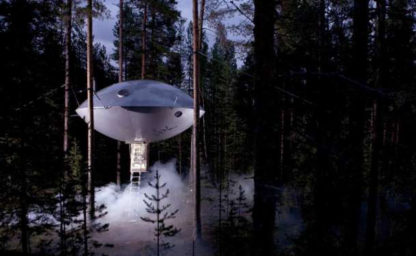 TREE HOUSE IN THE FORM OF SPACESHIP.