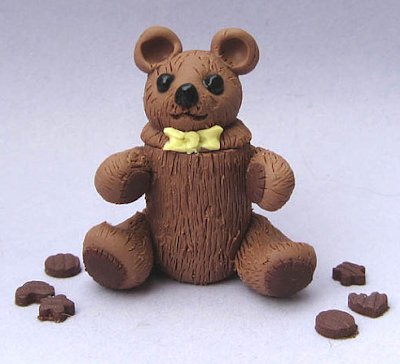 dollhouse miniature cookie jar, shaped like teddy bear