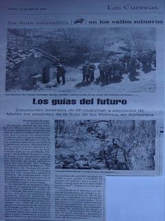 Noticia Ruta de los Molinos de Xomezana/Jomezana. La Nueva España. Pdf