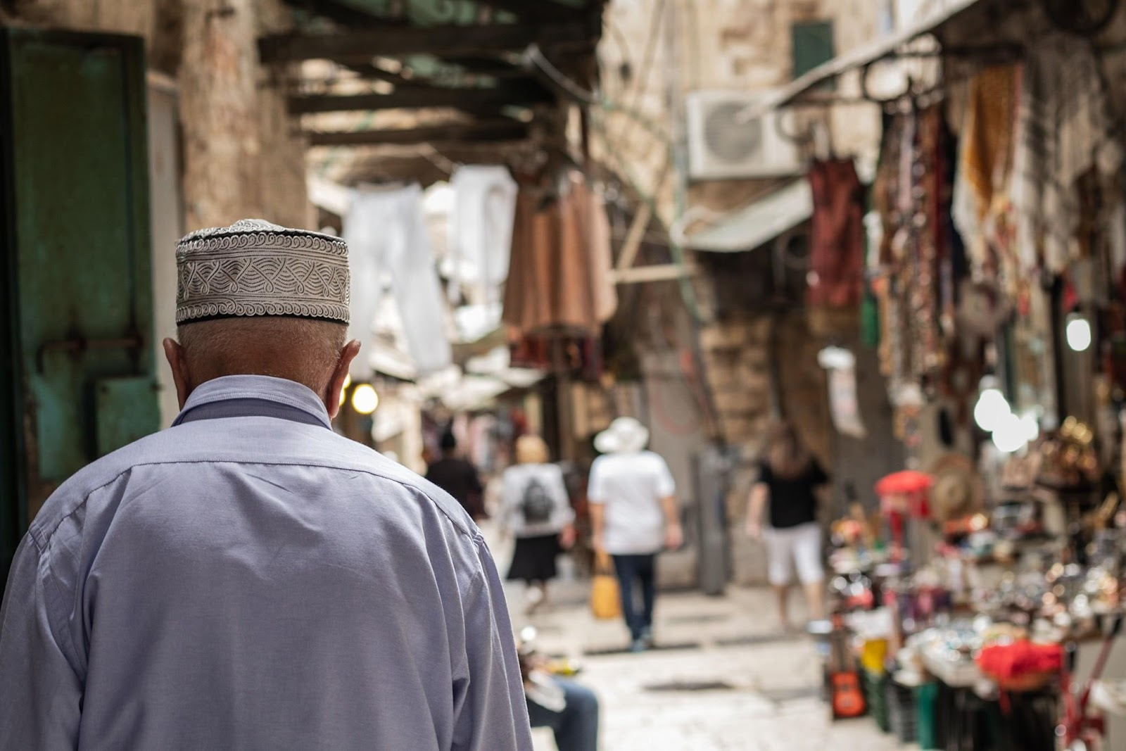 An elder Palestinian man in the streets of the Old City in Jerusalem