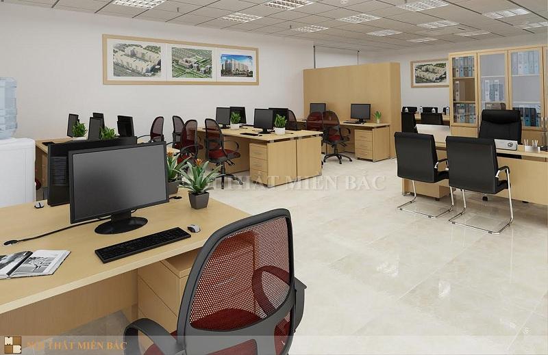 Thiết kế nội thất phòng làm việc đẹp với sự đồng bộ cao