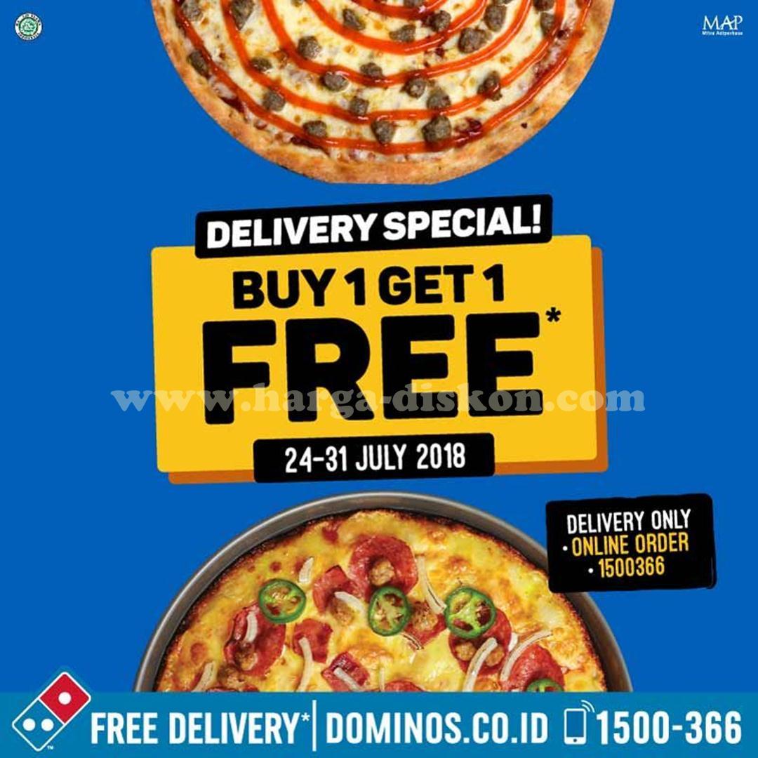 Promo Dominos Pizza Delivery Special Buy 1 Get 1 Free Periode 24 31 Juli 2018 Harga Diskon