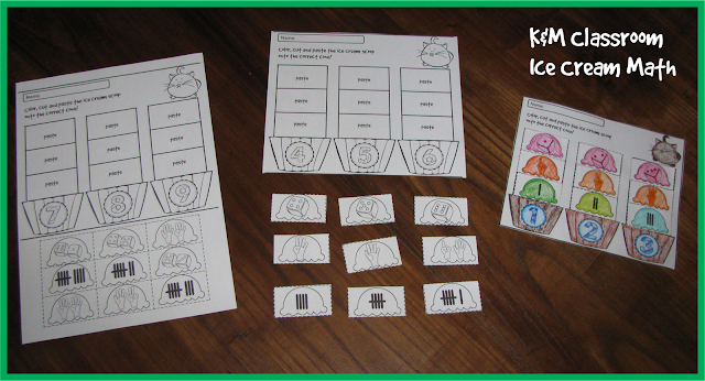 Ice Cream Math Cut and Paste Activity