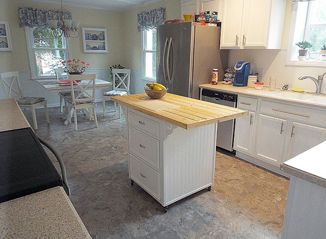 Re purposed cabinet as kitchen island