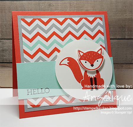 "de Stempelkeuken http://stempelkeuken.blogspot.com Foxy Friends, Fox Builder pons, A Little Foxy DSP, Calypso Coral, Smoky slate, Pool Party, Chocolate Chip, 2 1/2"" Circle Punch,"
