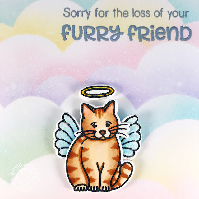 Sunny Studio Stamps: Pet Sympathy Rainbow Cloud Background Sympathy Card by Amy Yang