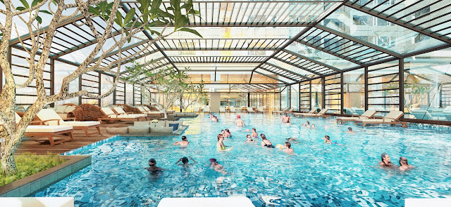 Bể bơi tại tầng 4 có mái che và sở hữu tầm view đẹp