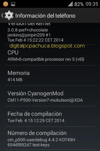 Información del teléfono versión de cyanogenmod 11 cpu ram compilación